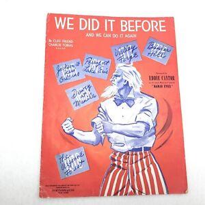 Uncle Sam WW2 Patriotic Vintage Sheet Music We Did It Before Eddie Cantor 1941