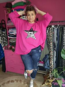 NEW AUTUMN PINK SEQUIN STAR MOTIF OVERSIZED RELAXED SWEAT TOP Italy O/size 12-22