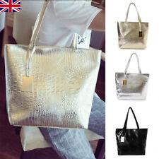 Large Metallic Gold Silver Black Tote Bags Crocodile Snakeskin Handbag Leather U