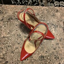 JESSICA SIMPSON Womens 8M 38 Red Shoes Pumps High Heels Vinyl Ankle Strap BNWT