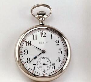 Antique 1917 ELGIN Pocket Watch Grade 293  MINT DIAL - Size 16 - RUNS