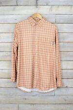 Vintage Naranja Camisa de cuadros (L)