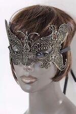 Women Men Half Face Eye Mask Black Fabric Halloween Costume Gold Butterfly Wings