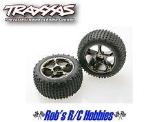 TRAXXAS Rear Tracer Black Chrome Wheels with Alias Tires (2): BVXL (TRA2470A)