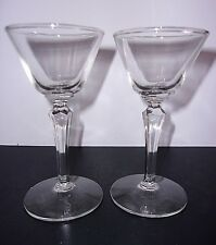 Cordial Liqueur Glasses Matched Pair Set /2 Hexagon Stems Clear Heavy Pressed