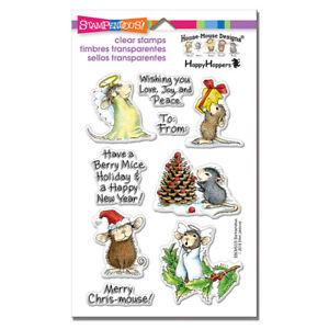 HOUSE MOUSE SENTIMENTS Christmas CLEAR Rubber Stamp Set STAMPENDOUS SSCM5005 New