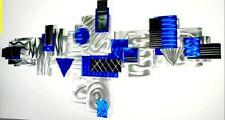 Metal Wall Art Sculpture SILVER ELECTRIC BLUE Modern Abstract ORIGINAL Jon Allen