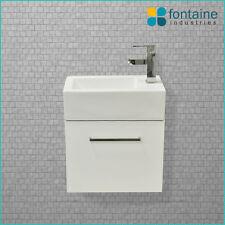 Kudos Bathroom Vanity 480 White Wall Hung Narrow Ceramic Basin Compact NEW