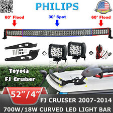 "52""inch 700W Curved+4"" 18W LED Light Bar+Mount Bracket Fit For TOYOTA FJ CRUISER"