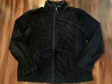 ladies KAREN SCOTT VELOUR JACKET black zipper FALL SPRING lightweight LARGE nice