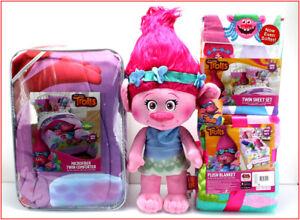 6 Piece - DreamWorks TROLLS Comforter + Sheet Set + Blanket + Poppy Doll - TWIN