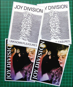 JOY DIVISION / Ian Curtis 4 x Large Glossy Vinyl Promo Stickers, Factory Records