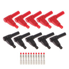 10 Pcs Red Black 4mm Male Angle Wire Type Insulation DIY Banana Plug Connector