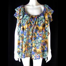 H & M Garden Collection Top 16 Recycled Floral Chiffon Angel Sleeve Empire