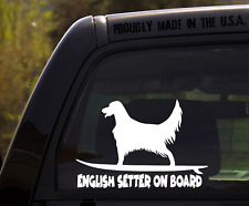 English Setter on Board - Funny Dog Breed Decal Sticker for car or Truck Window