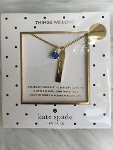 New Kate Spade born to be True blue sapphire CZ pendant necklace Christmas gift