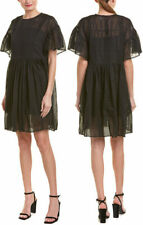 $515 ISABEL MARANT ETOILE Annaelle Flared Cotton Mini Dress BLACK Size 36 / S