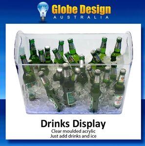 BOX of 4 Acrylic Drinks Display Units Ice Bucket Plastic Beverage Ice Tub Bar