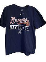 Nike Dri Fit Atlanta Braves T Shirt Dark Blue Size Medium M Baseball