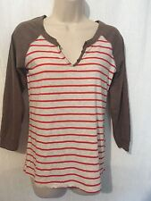 Poof Top Jrs M Gray Red Striped Cotton Stretch New 170739