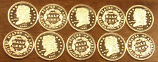 10 One 1 Gram .999 Silver Rounds 1835 Half Cent..........Free Shipping..Lot A58