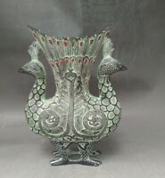 Collect china beautiful Decorated Bronze Carved Double phoenix statue Vase cup