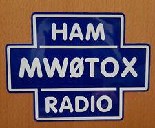 Indicativo di chiamata Decalcomania Sticker Croce logo riflettente blu e bianco Ham Radio amatoriale
