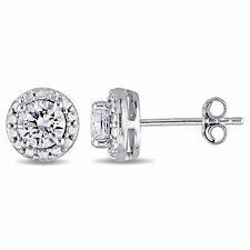 Amour Sterling Silver Created White Sapphire Earrings