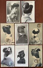 1910-14 Lot Of Eight Japanese Geisha Ladies Hairstyle Set Of Postcards Beautiful