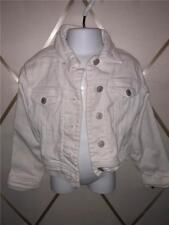 XS 5 GIRLS OLD NAVY WHITE BLUE JEAN DENIM BUTTON FRONT LONG SLEEVE JACKET