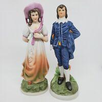 "Vintage FBIA Set Of 2 Bisque Porcelain Figurines Colonial Blue Man Pink Woman 8"""