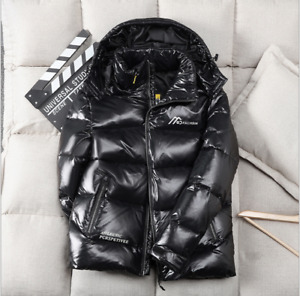 Men Hooded Coat Jacket Parka Puffer Padded Quilted Shiny Winter Warm coat