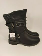 Lilley size 8 (41) black faux leather side zip block heel ankle boots
