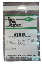 "NTE15 Silicon NPN Transistor: VHF Amp, Mixer, Osc, UHF OSC: ""M"" Type Case: New"