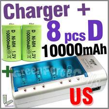 8 X 10000mah D 1.2 V Ni-mh batería Verde + Recargable Cargador c Aa Aaa 9v nos