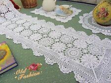 Vintage Hand Crochet Table Runner/Scarf~White~Daisy~Victorian Elegance~