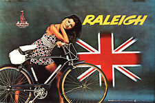 """Vintage RALEIGH Bicycle advertisement, 70's, 20""""x14"""" poster, Women on BIKE"""