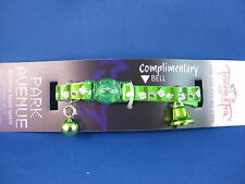 Cat Collar - Reflective with Safety Clip - Green with Paw Prints - Green Bell