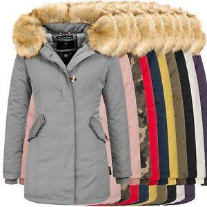 Marikoo Jacke Damen Winter Parka Mantel Winterjacke warm Luxus Kunstpelz OMKRMA