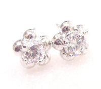 Unisex Clear Simulated Diamond White Gold Plated 7mm Flower Stud Earrings Pair