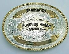 Vintage MONTANA SILVERSMITHS Puyallup Rodeo WRANGLER Belt Buckle Washington