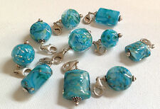 Lela Belle Hand Blown Murano Glass Beads - Set of 10 - Shades of Turquoise B25