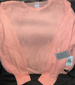 DKNY Sport Women's Mesh Cropped Pullover Mimosa**Size Large**NWT!MSRP$69.50