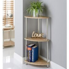 Stylish Svar 3 Tier Oak Effect Corner Shelf Unit Stainless Steel Legs Durable