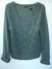 MODA INTERNATIONAL Gray Ribbed Cable Mohair-Wool Pullover Sweater Top sz L