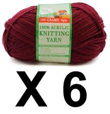 Knitting wool 6 x 100g acrylic yarn 8ply Maroon 100% Brand New