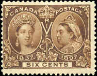 Mint H Canada 6c 1897 F+ Scott #55 Diamond Jubilee Issue Stamp