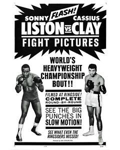 Muhammad Ali vs Sonny Liston Fight Poster - 8x10 B&W Photo