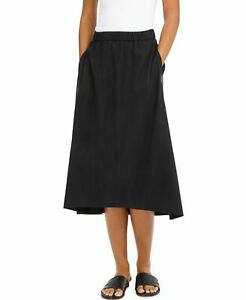 Eileen Fisher Women's A-Line Skirt Black US Small S High-Low Pocket $188 #455