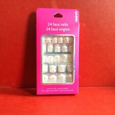 CLAIRE'S 24 Faux Nails French Manicure Glitter Flower Press On Faux Nail Set